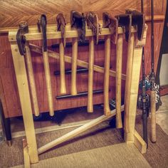 Tonight I made this simple axe rack to bring order among my small collection of axes/hatchets and tomahawks. I made it narrower in one end so the smaller heads also sit nicely in the rack. Viking Axe, Viking Sword, Wood Projects, Woodworking Projects, Wood Axe, Diy Rack, Primitive Survival, Vikings, Old Tools