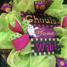SALE Lime and Pink Halloween Wreath Halloween by AllMeshedUp2014