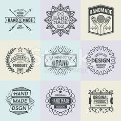 Assorted retro design insignias logotypes set 19. Vector vintage elements. royalty-free stock vector art