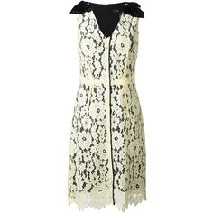 Marc Jacobs floral lace midi dress (43.600 RUB) ❤ liked on Polyvore featuring dresses, yellow, white midi dress, floral lace dress, white v neck dress, yellow dress and floral dresses