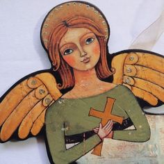 Wood Angel Teresa Kogut | Angel Wall Art Made of Wood Composition and Ribbon Each: 13in W x 6in ...