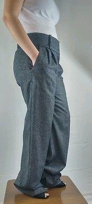 Women's Bebe Trousers Long Wide Leg Size 8 Charcoal