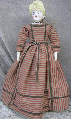 #1182, 1890's German Parian Bonnet Head Doll 15 Inch
