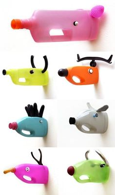Reciclaje #botellas estilo cabezas de animales cazados.