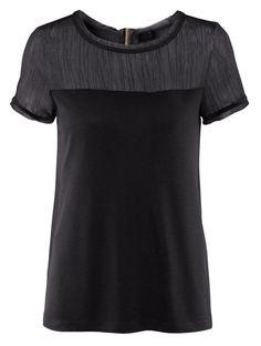 #SheInside Black Short Sleeve Contrast Chiffon Zipper T-Shirt