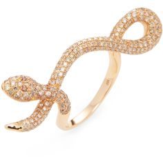Shay Women's Long Vertical Snake Ring - Pink - Size 7 ($3,400) ❤ liked on Polyvore featuring jewelry, rings, pink, pave diamond ring, wide-band rings, 18 karat gold jewelry, long jewelry and snake ring