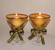 Martini Wedding Glasses / Toasting Glasses / Fall Wedding Votive Candle Holder / Brown and Green Wedding Decoration / Amber Wedding Decor