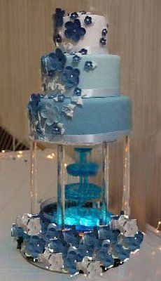 blue fountain wedding cakes pictures - Google Search. I want an ombré cake!