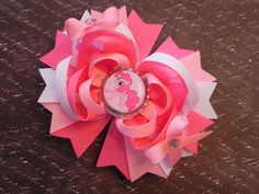 My Little Pony Pinkie Pie Boutique Layered Bottle Cap Hair Bow - OTT over the top - by Sweet Tea Bowtique on Etsy, $7.50