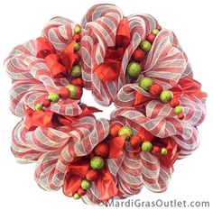 Candy Cane Wreath with ribbon accents