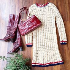Lazy Saturday's call for cozy knits  70s knit dress Sz M $46 70s boots Sz 7.5 $45 80s eel skin purse $36 DM or comment with email and postal code to purchase #vintage #vintagefashion #70s #70sfashion #style #fashion #fallfashion #knit #boots #shop #instashop