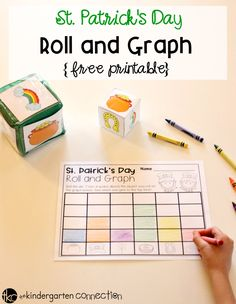 Grab this FREE Roll and Graph Activity St. Patrick's Day Math Activity and use it in your math center or small groups for kids to practice graphing skills!