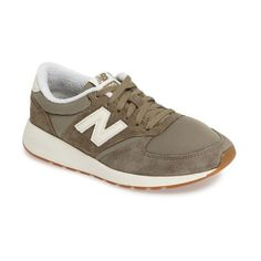 Women's New Balance 420 Sneaker (4,310 PHP) ❤ liked on Polyvore featuring shoes, sneakers, covert green, new balance trainers, new balance shoes, lightweight shoes, green shoes and lightweight sneakers