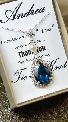 Sapphire bluetear drop necklace BLUE set royal by thefabbridal3, $35.99