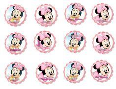21 Super Ideas For Baby Shower Ides For Girs Minnie Mouse Bows Minnie Mouse Template, Minnie Mouse Cupcake Toppers, Minnie Mouse Pink, Minnie Mouse Party, Mouse Parties, Festa Mickey Baby, Theme Mickey, Minnie Mouse 1st Birthday, Baby First Birthday