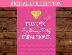Bridal Shower THANK YOU SIGN - Pink Bridal Shower Sign