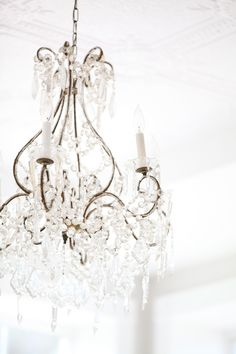 The simply luxurious life white chandelier, ceiling lights, bedroom, interior design, lighting White Chandelier, Chandelier Lamp, Vintage Chandelier, Ceiling Lamp, Ceiling Lights, Shades Of White, My Dream Home, Sweet Home, Shabby Chic