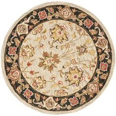 Charlton Home Helena Floral Rug Rug Size: Round 8'