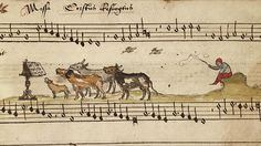 Cows singing a four part mass on the resurrection of Christ. Cambrai Chansonnier