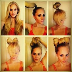 Bow Bun     This is advanced and would probably be better as a video (I'm working on it!).  In the mean time, bobby pins, hairspray, and patience go a long way! Feel free to ask questions.      1) Pull hair into high ponytail.  I like to put it slightly to the side so the bow rest sideways.   2) Take another ponytail holder and pull your hair halfway through, creating a bun with the excess hair landing in the front.   3) Pull the sides of the bun down to begin to form the bow.   5) Bring the…