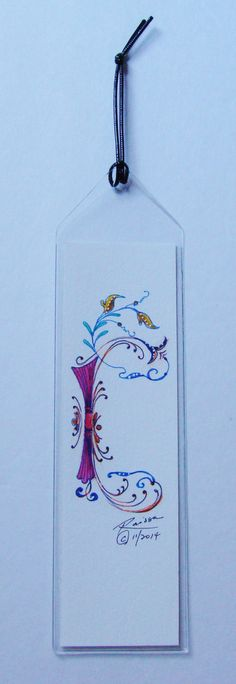 Original Watercolor Bookmark Illuminated by RaissasArtmarket