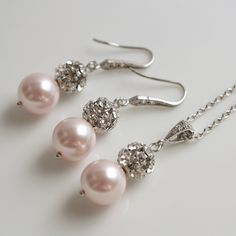 Image detail for -Pearl Jewelry Bridal Jewelry Set Silver with Rose Pink Swarovski Pearl ...