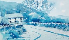 Look at this lovely monochrome study of a Yorkshire Cottage in #watercolour by Joanne Boon Thomas now available on ArtTutor