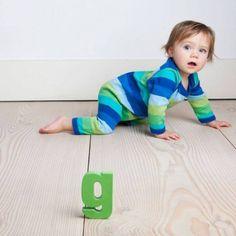 Blue Organic Striped Baby Grow