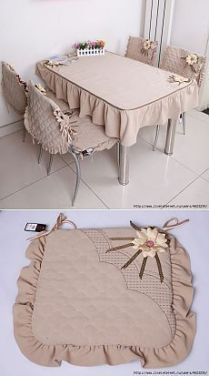 Coser el mantel y las fundas a las sillas (la cocina, de mesa).Sew cloth and chair covers (kitchen, dining room).Discover thousands of images about Your sewing machine is probably the largest item in your sewing space. When you're sewing, you need ea Furniture Covers, Sofa Covers, Table Covers, Kitchen Chair Covers, Cushion Covers, Diy Home Crafts, Diy Home Decor, Sewing Crafts, Sewing Projects