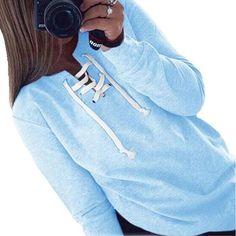 7bf1181fcc7 2018 New Women Bandage Top Hoodies Sweatshirt Casual Long Sleeve Solid  Lacewwetoro Top Hoodies