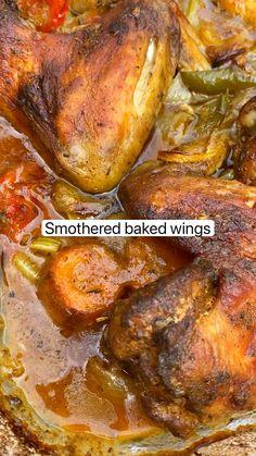 Chicken Thigh Recipes Oven, Chicken Skillet Recipes, Baked Chicken Wings, Chicken Thighs, Chicken Legs, Salmon Recipes, Meat Recipes, Cooking Recipes, Crockpot Recipes