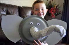 """Paper Plate Elephant Puppet Tutorial Elephant puppet – Use her hand in the trunk to experience """"feeling"""" different objects Toddler Crafts, Toddler Activities, Preschool Activities, Preschool Elephant Crafts, Jungle Crafts, Dinosaur Crafts, Ocean Crafts, Spanish Activities, Projects For Kids"""