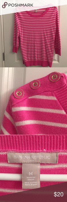 BR pink Sweater with Buttons A bright pink sweater with white stripes. 3/4 length sleeves and gold button detail on the shoulders (see pic). Great with white pants and shorts. Banana Republic Sweaters Crew & Scoop Necks
