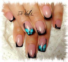 black gel & turquoise butterfly