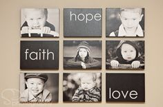 25 Examples Of How To Display Photos On Your Walls. Love the black blocks to break up the photos