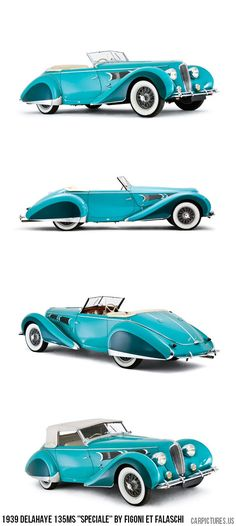 "1939 Delahaye 135MS ""Speciale"" by Figoni et Falaschi. Can absolutely see myself cruising round in the flashy little number"
