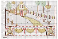 Christmas gingerbread house in snow cross stitch