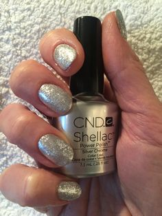 Party nails for a good friend. Shellac Silver Chrome with lecente glitter. Simple but sparkly!