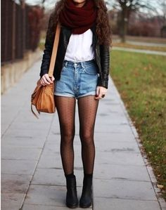 Cute fall outfit black leather jacket burgundy scarf denim high waist shirts white tee sheer tights black boots: Fall Style, Outfit Idea, High Waisted Shorts, Black Boots, Leather Jackets, Fall Outfit, Fall Fashion, Denim Shorts, Fall Winter