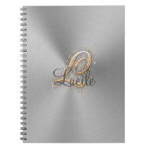 Silver elegant monogram L Notebook