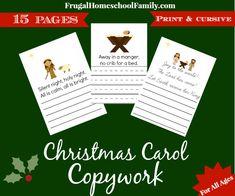 christmas carol handwriting copywork pack pages