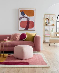 Home Decoration For Living Room Referral: 1066134440 Living Room Sofa, Living Room Decor, Bedroom Decor, Bedroom With Couch, Bedroom Rugs, Wall Decor, Glass Bookcase, Square Pouf, Colourful Living Room
