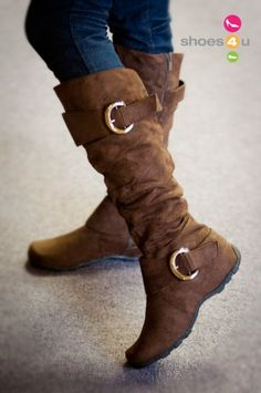 Valley-11 Brown Buckle Slouchy Knee High Boot