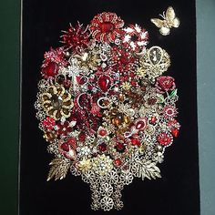 Framed Vintage Costume Jewelry Not Christmas Tree Flower Bouquet Art Shadowbox