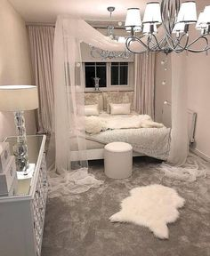 White canopy bedroom - Schlafzimmer - Your HairStyle Cute Bedroom Ideas, Cute Room Decor, Girl Bedroom Designs, Room Ideas Bedroom, Home Bedroom, Girls Bedroom, Bedroom Ideas For Girls, Romantic Bedroom Design, Romantic Bedrooms