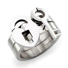 keys, locks, sterling silver rings, key rings, steel ring