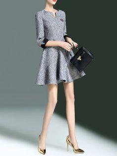 Simple A-line V Neck 3/4 Sleeve Mini Dress