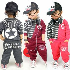 Buy New Korean baby fashion casual Childrens striped long-sleeved hooded jacket + pants piece fitted sportswear, $7.90/piece | JOJbuy.com