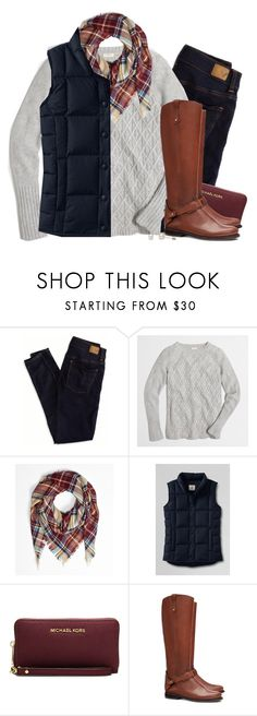 """""""Cable knit, plaid & navy down vest"""" by steffiestaffie ❤ liked on Polyvore featuring American Eagle Outfitters, J.Crew, Lands' End, MICHAEL Michael Kors and Tory Burch"""