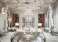 Both the menu and the decor at Alain Ducasse au Plaza Athénée will be vying for your affects.